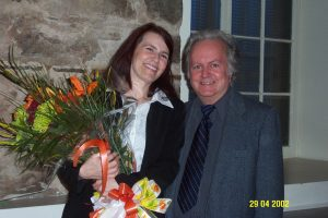 Fin du mandat de Michel Pratt à titre de président de l'Assocation des auteurs de la Montérégie. Il est accompagné de son adjointe Ginette Guilbault.